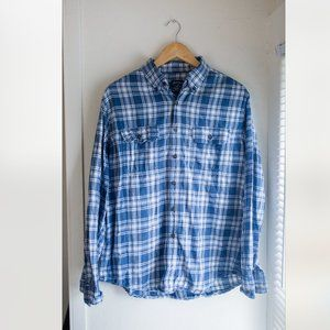 Men's Blue and White Checkered Faded Glory Flannel